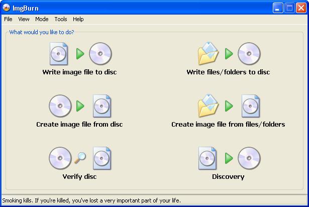 Screenshot af ImgBurn