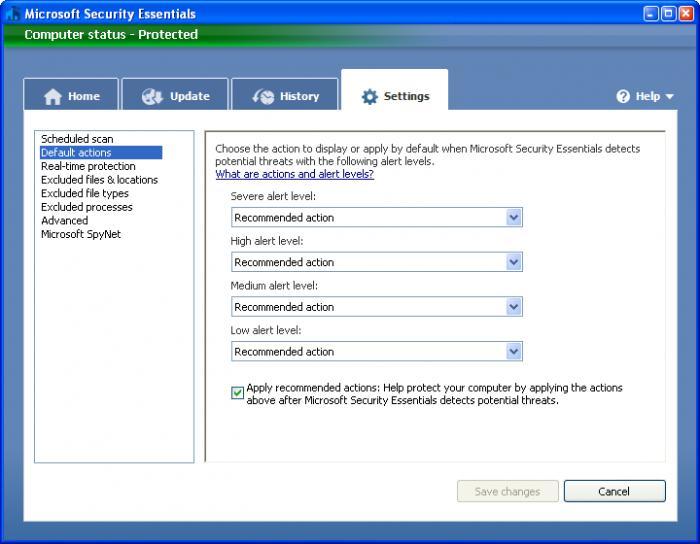 Screenshot af Microsoft Security Essentials