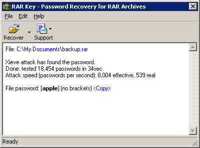 Screenshot af Rar Password Recovery Key