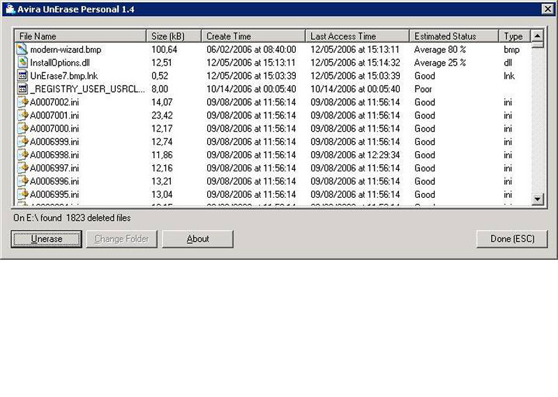 Screenshot af Avira UnErase Personal