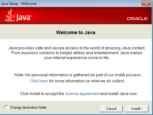 Screenshot af Java