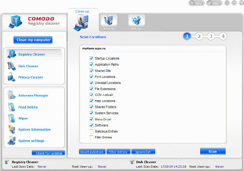 Screenshot af Comodo System Utilities