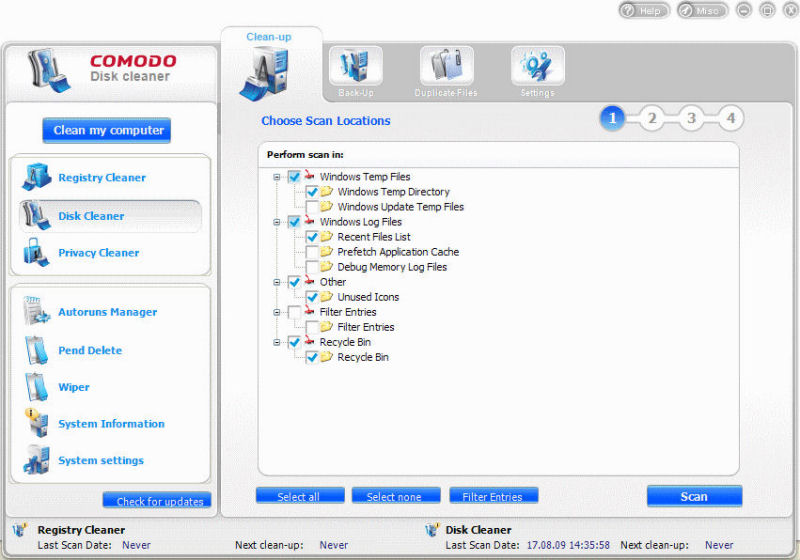Screenshot af Comodo System Utilities