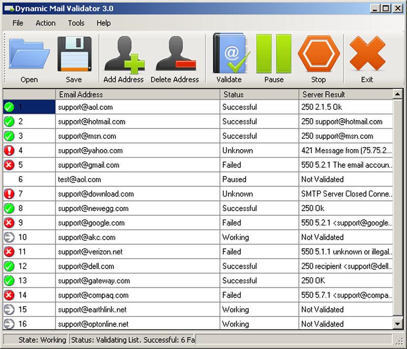 Screenshot af Dynamic Mail Validator