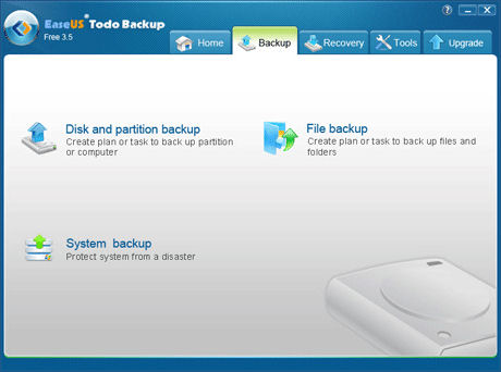 Screenshot af EaseUS Todo Backup Free