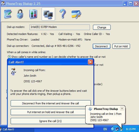 Screenshot af PhoneTray Dialup