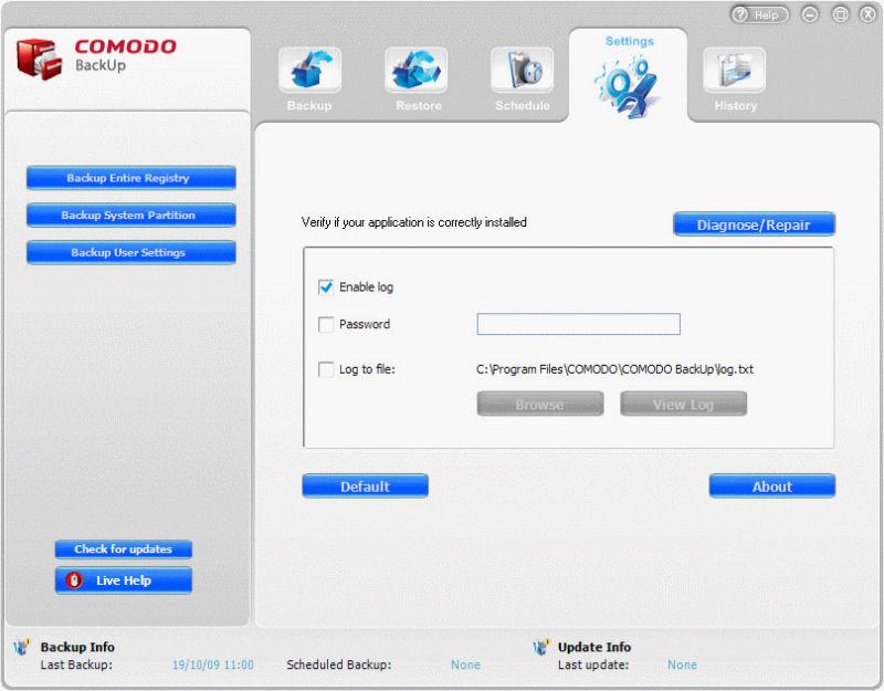 Screenshot af Comodo Backup