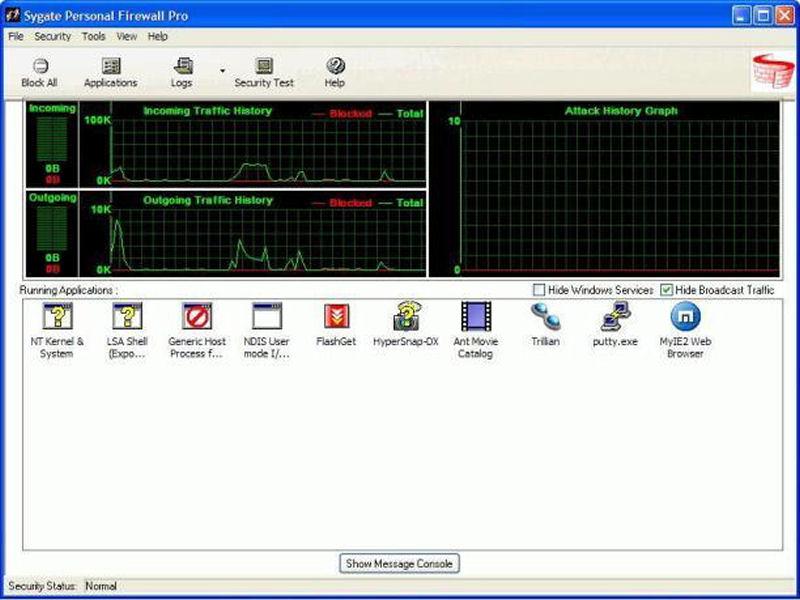 Screenshot af Sygate Personal Firewall