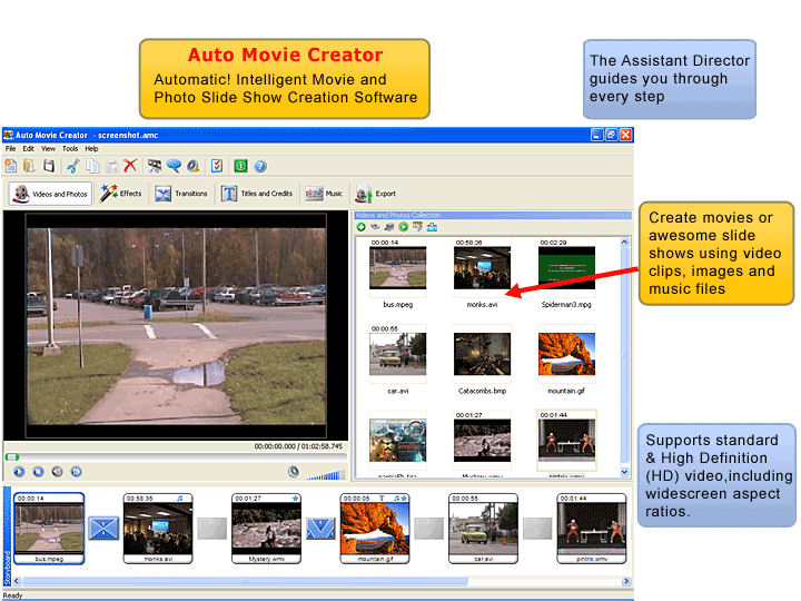 Screenshot af Auto Movie Creator