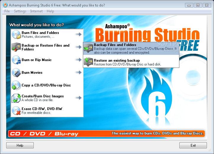 Screenshot af Ashampoo Burning Studio Free