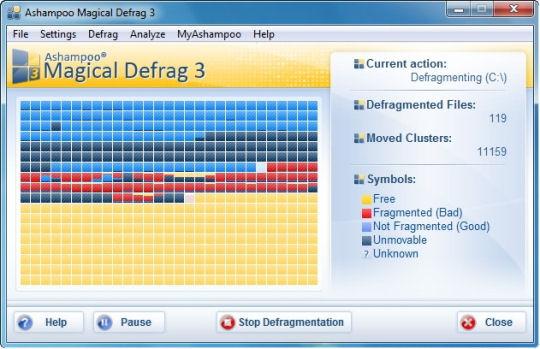Screenshot af Ashampoo Magical Defrag