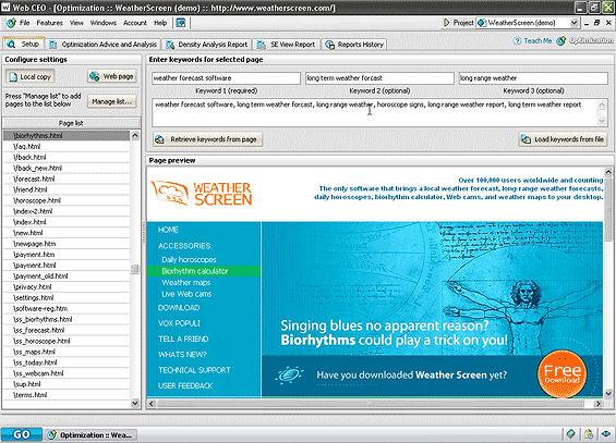 Screenshot af Web CEO Free Edition