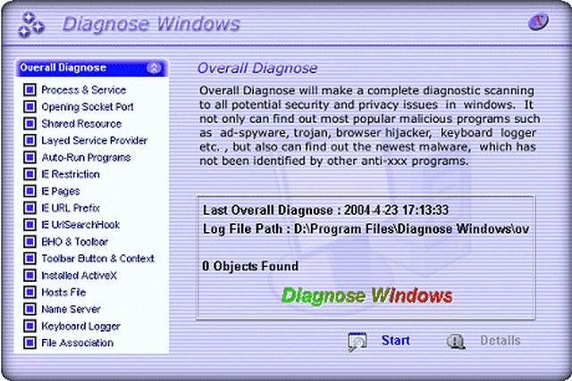 Screenshot af Diagnose Windows