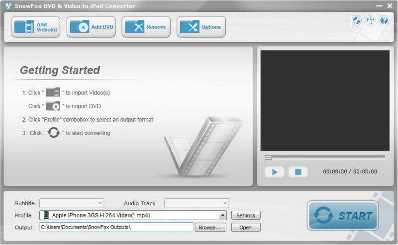 Screenshot af  SnowFox DVD to iPad Converter