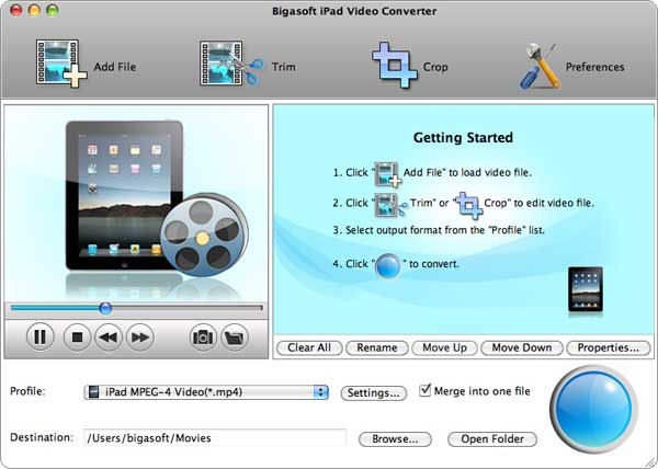 Screenshot af Bigasoft - iPad Video Converter