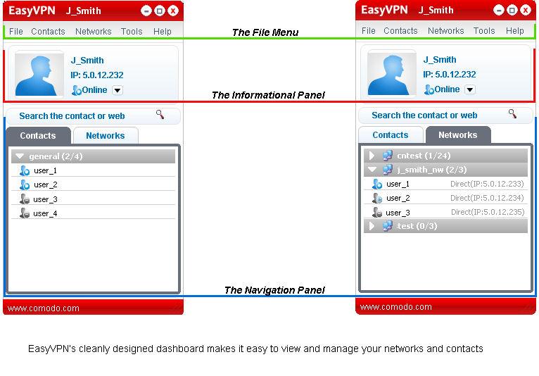 Screenshot af Comodo EasyVPN