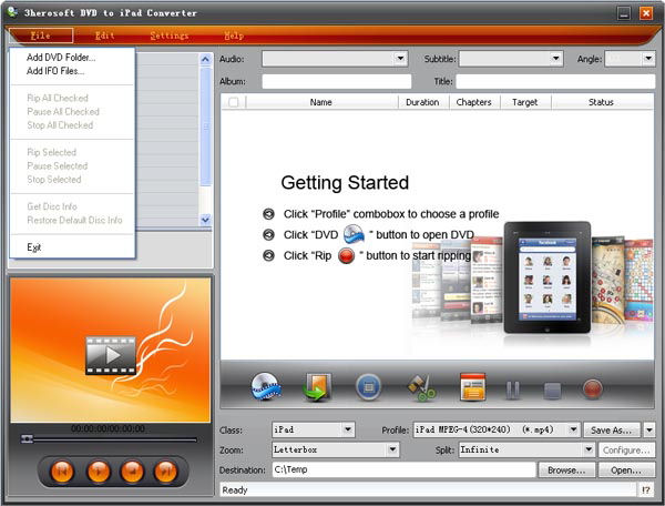 Screenshot af 3herosoft iPad Video Converter