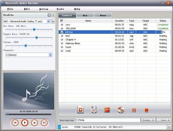 Screenshot af 3herosoft Audio Encoder
