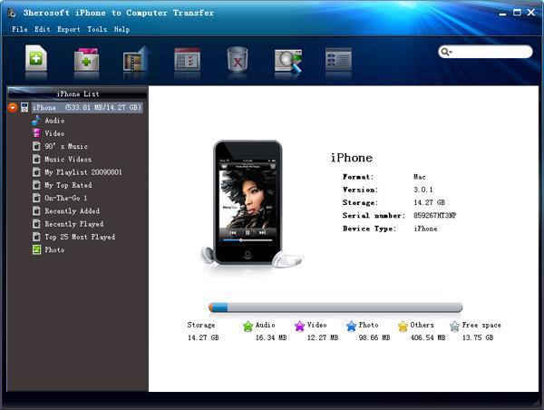 Screenshot af 3herosoft iPhone to Computer Transfer