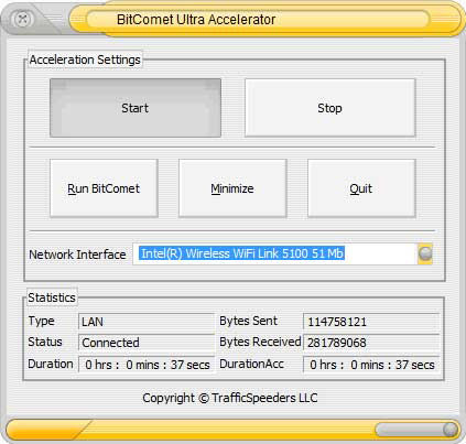 Screenshot af BitComet Ultra Accelerator