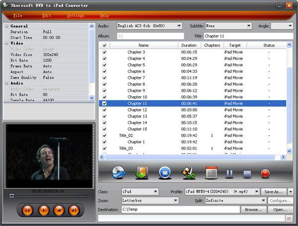 Screenshot af 3herosoft DVD to iPad Converter