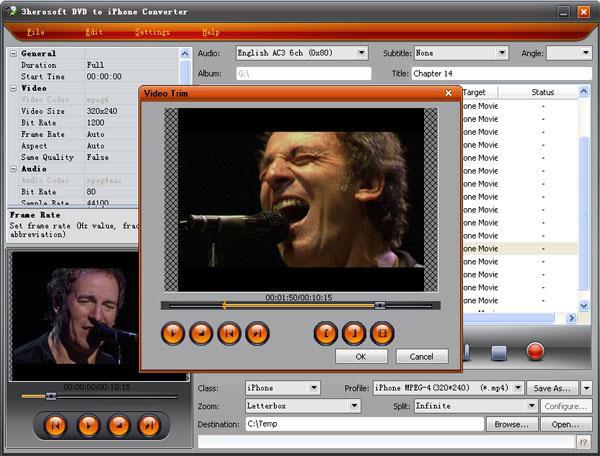 Screenshot af 3herosoft DVD to iPhone Converter