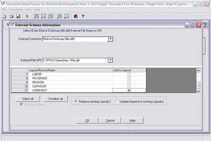 Screenshot af Pervasive Data Parser for Binary