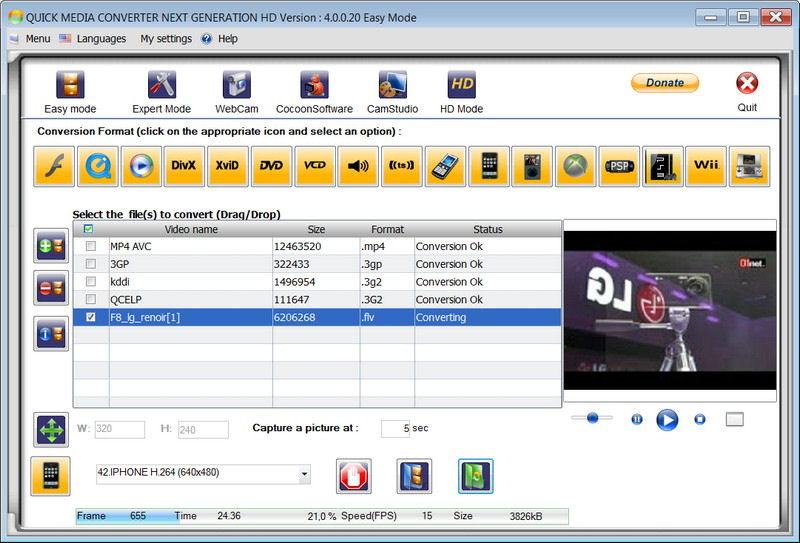 Screenshot af Quick Media Converter HD