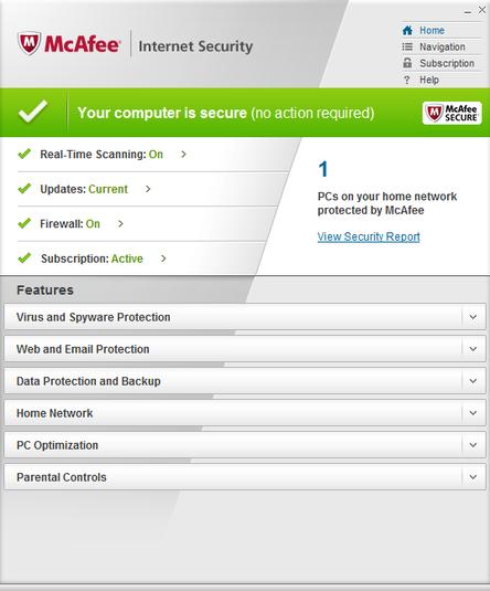 Screenshot af McAfee Internet Security