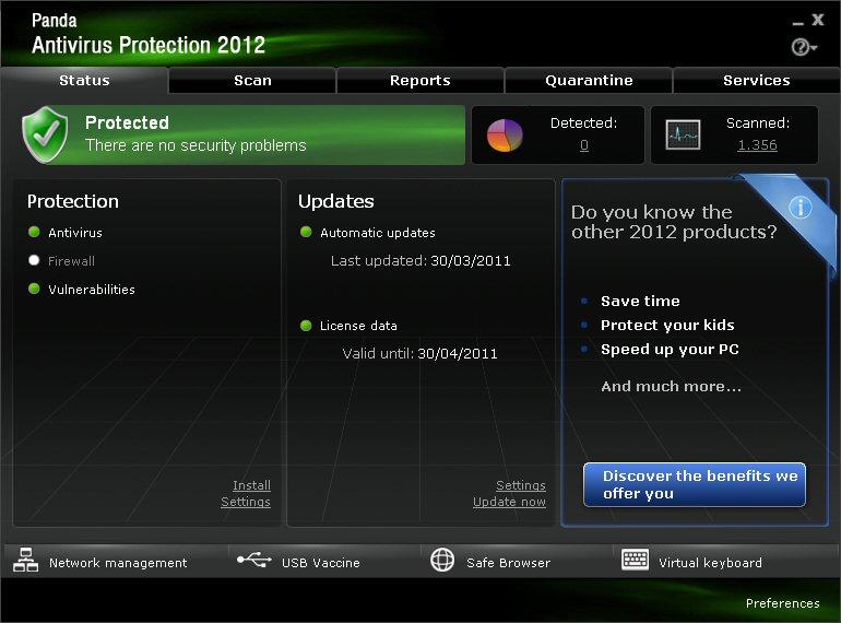 Screenshot af Panda Antivirus Pro