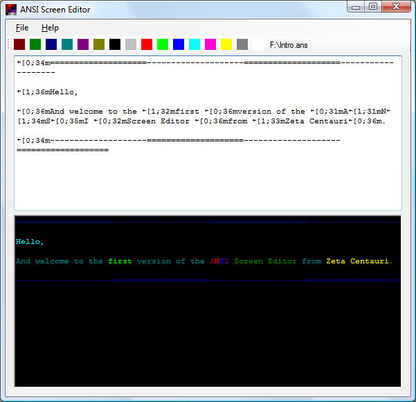 Screenshot af ANSI Screen Editor