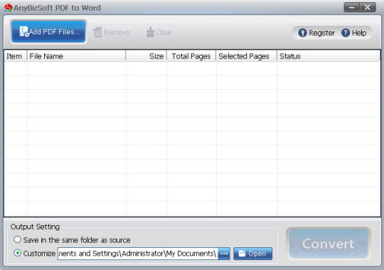Screenshot af AnyBizSoft PDF to Word Converter