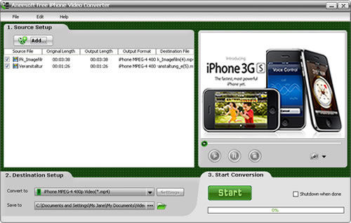 Screenshot af Aneesoft Free iPhone Video Converter
