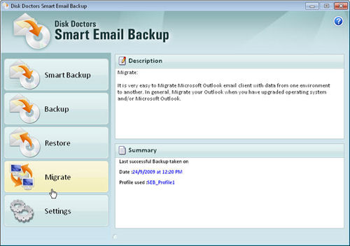 Screenshot af Disk Doctors Smart Email Backup