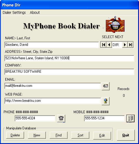 Screenshot af BREAKTRU MyPhone Book Dialer