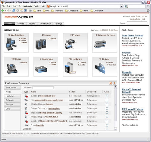 Screenshot af Spiceworks IT Management Desktop