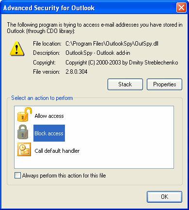 Screenshot af Advanced Security for Outlook