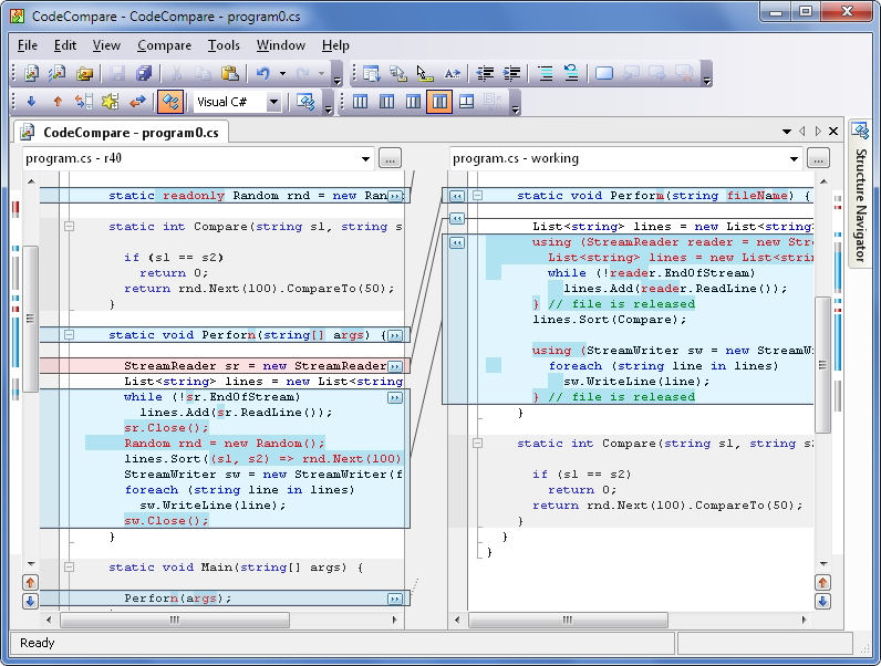 Screenshot af CodeCompare