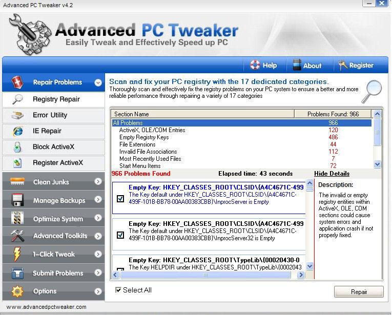 Screenshot af Advanced PC Tweaker