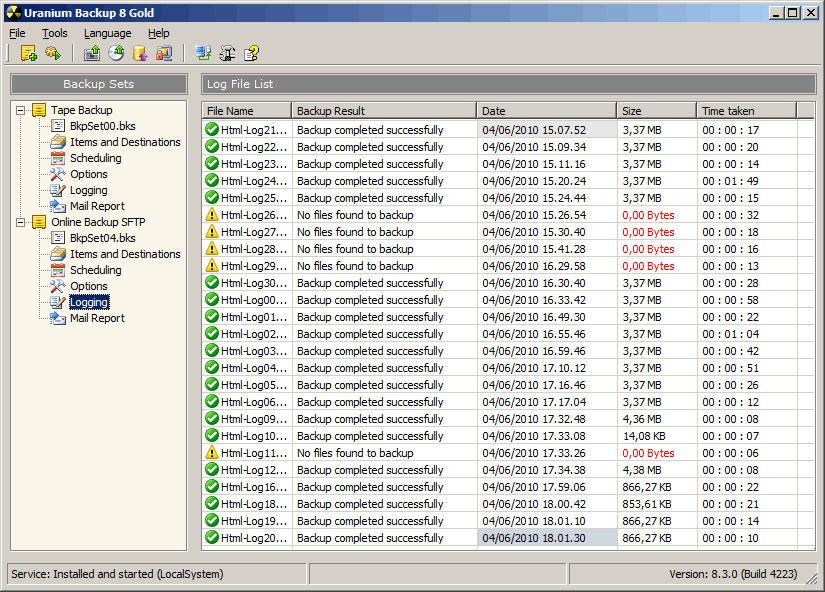 Screenshot af Uranium Backup