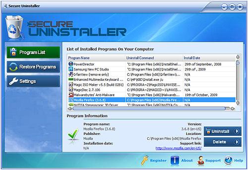 Screenshot af SecureUninstaller