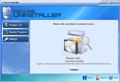 Screenshot af SecureUninstaller