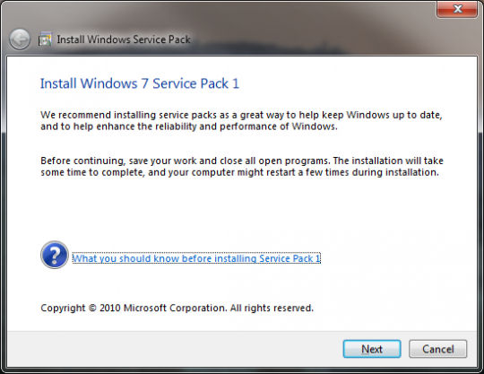 Screenshot af Windows 7 Service Pack