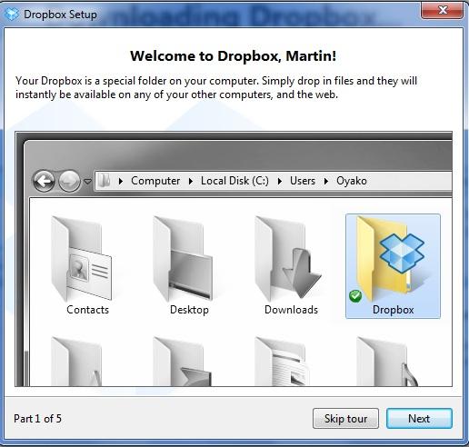 Screenshot af Dropbox til Mac