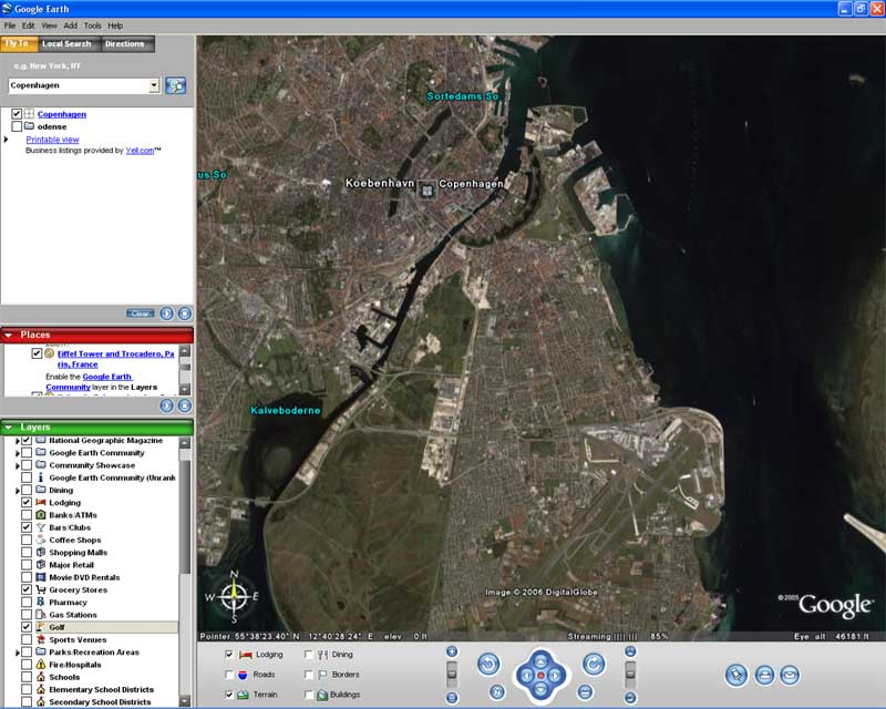 Screenshot af Google Earth til Mac