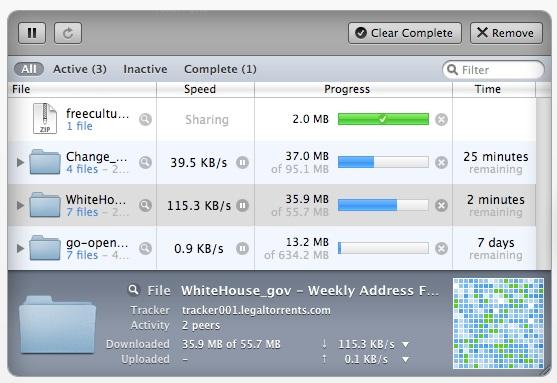 Screenshot af xTorrent til Mac
