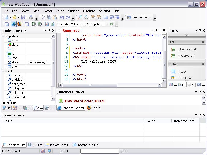 Screenshot af TSW WebCoder