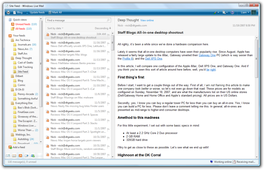 Screenshot af Windows Live Mail