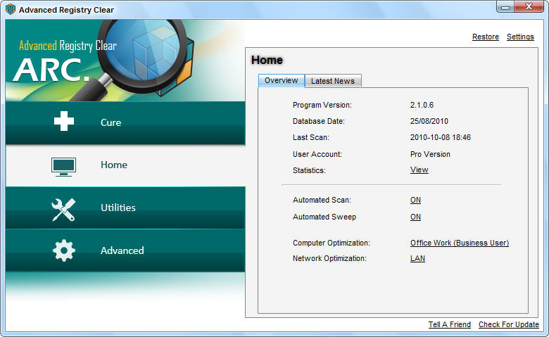 Screenshot af Advanced Registry Clear