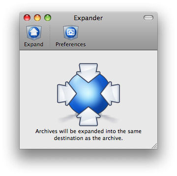 Screenshot af StuffIt Expander til Mac